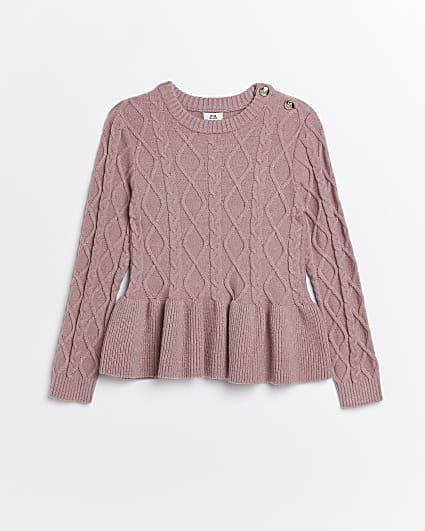 Girls pink cable knit peplum jumper