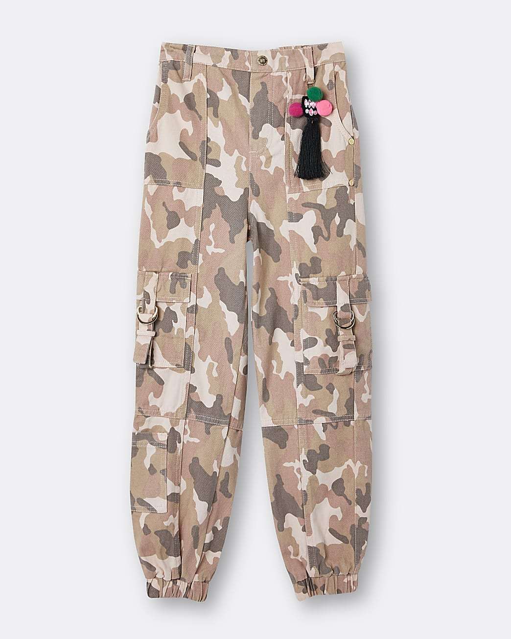 Girls pink camo cargo trousers