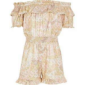 Combi-short Bardot camouflage métallisé rose pour fille