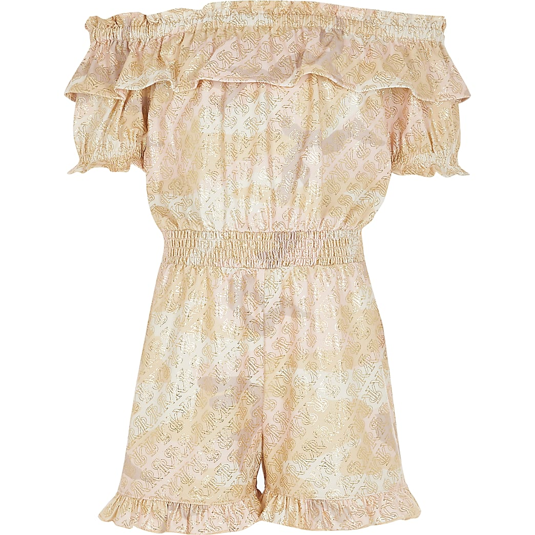 Girls pink camo foil bardot playsuit