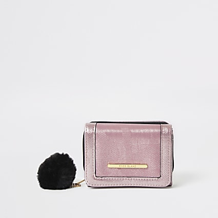 Girls pink camo jacquard fold out purse