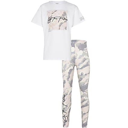 Girls pink camo leggings outfit