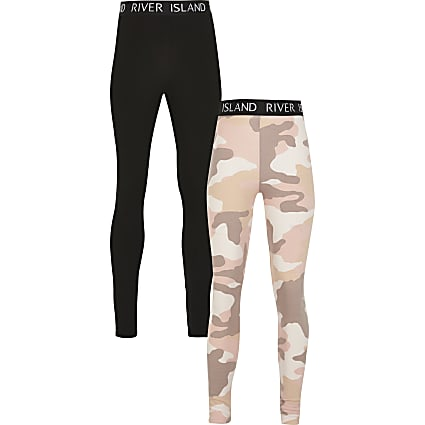 Girls pink camo print 2 pack legging