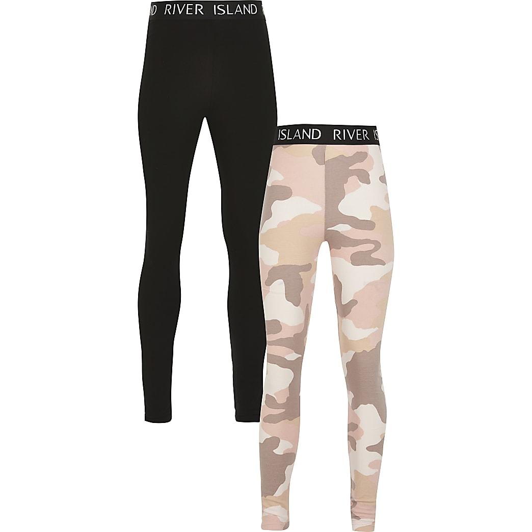 Girls pink camo print 2 pack legging