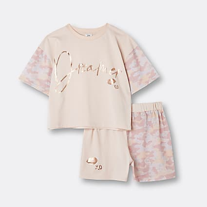 Girls pink camo print pyjama set