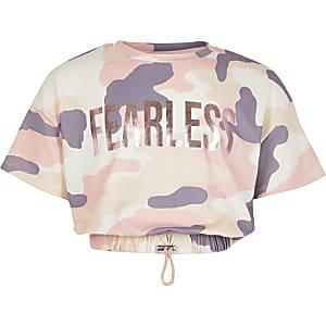 T-shirt à imprimé camouflage rose pour fille