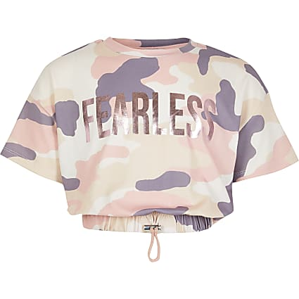 Girls pink camo print T-shirt