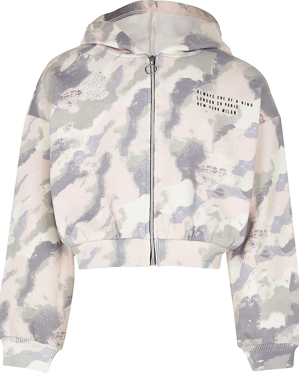 Girls pink camo zip through hoodie