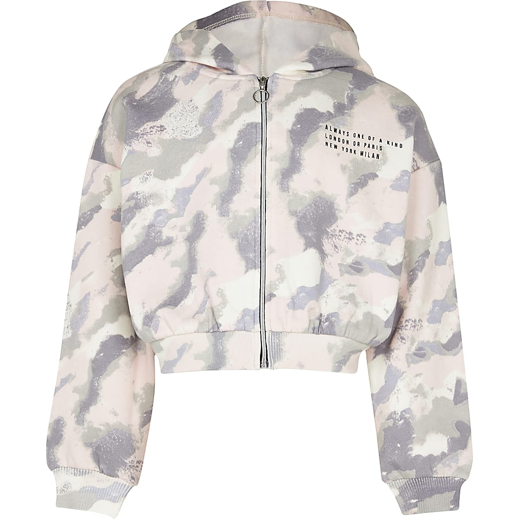 Girls pink camo zip through hoodie