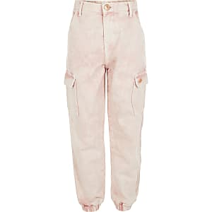 Girls pink cargo pocket jogger jeans