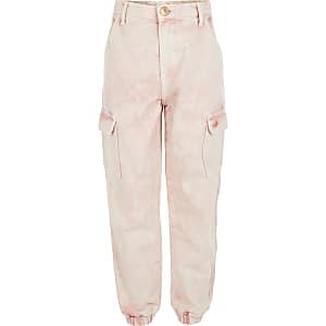 Jean style pantalon de jogging avec poches cargo rose pour fille