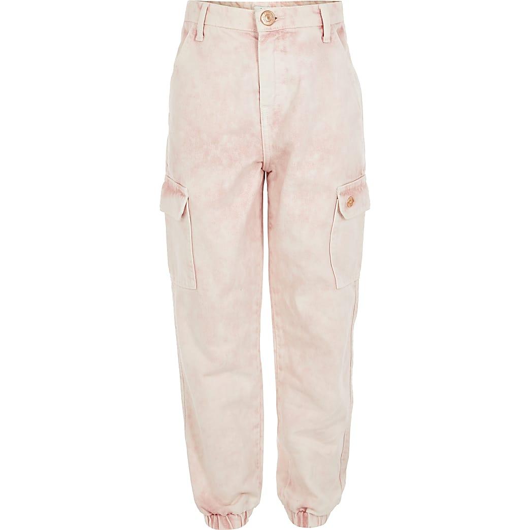 Girls pink cargo pocket jogger jeans