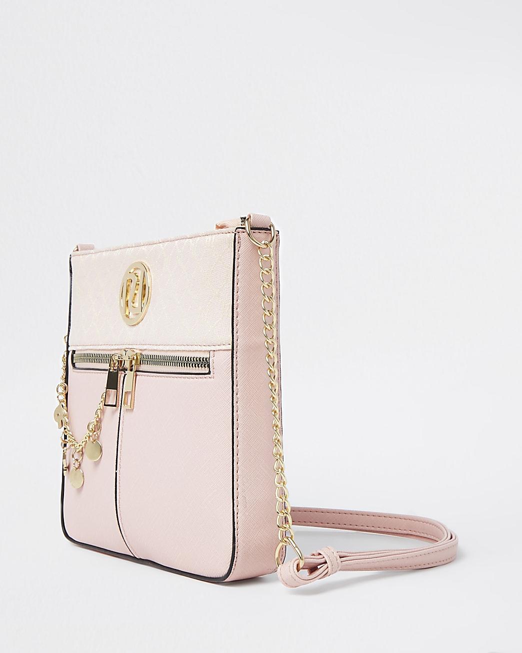 Girls pink chain messenger bag