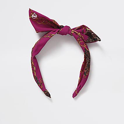 Girls pink chain print bow Aliceband