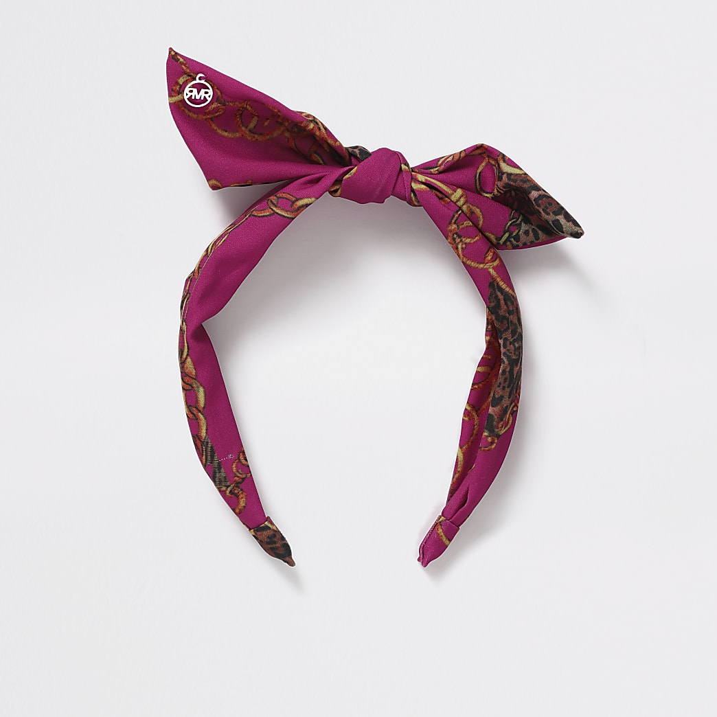 Girls pink chain print bow Aliceband