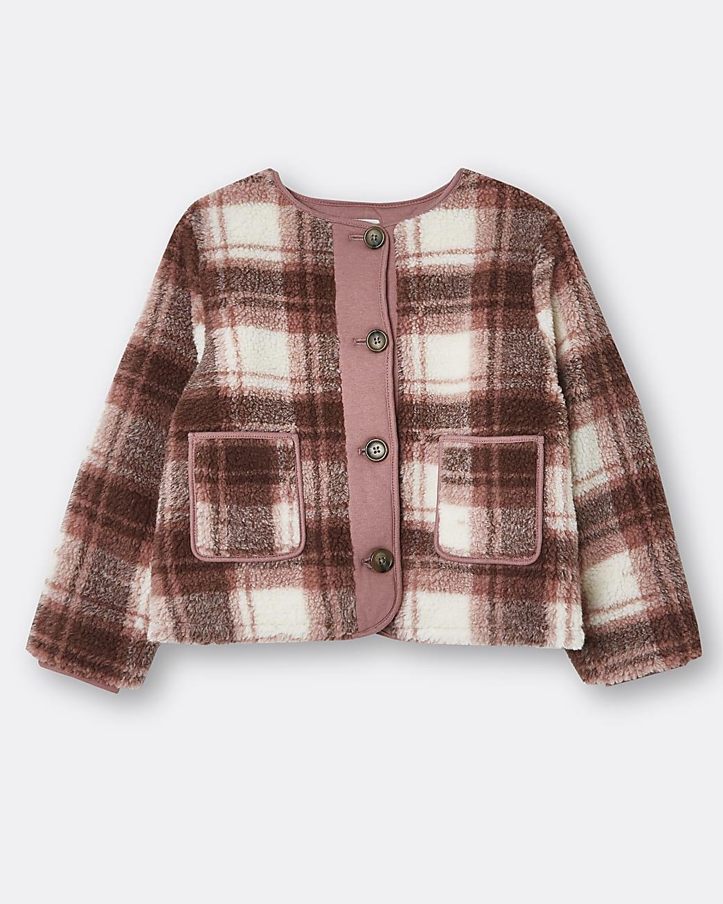 Girls pink check borg jacket