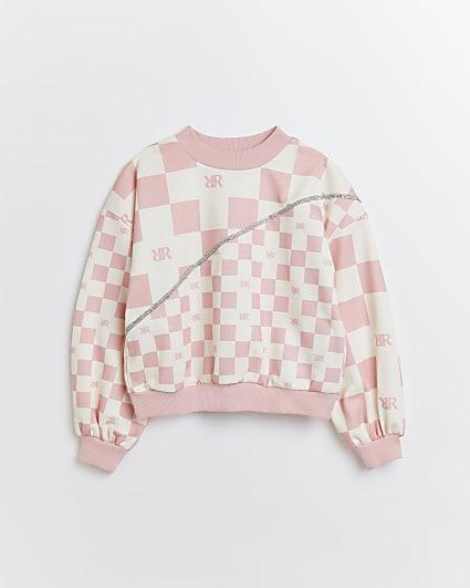 Girls pink check diamante sweatshirt