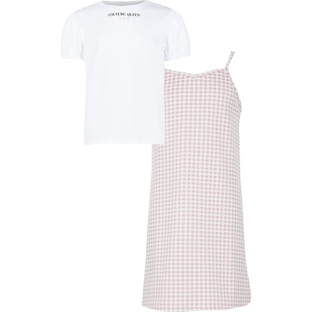 Girls pink check dress outfit