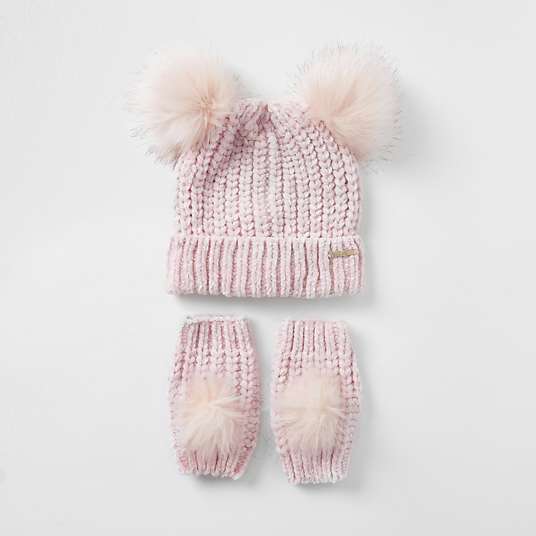 Girls pink chenille hat and glove set