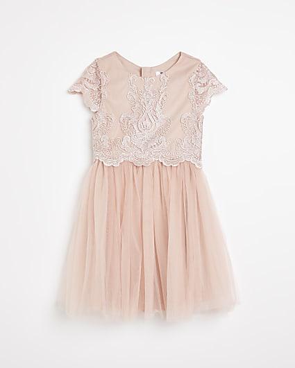 Girls pink Chi Chi applique mesh dress