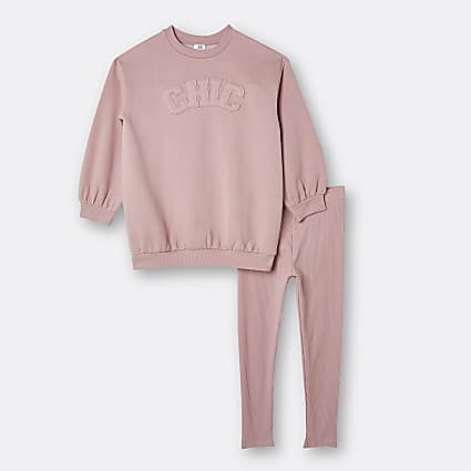 Girls pink 'Chic' oversized sweatshirt outfit
