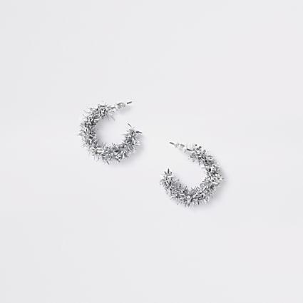 Girls pink Christmas tinsel earrings