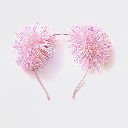 Girls pink Christmas tinsel pom headband