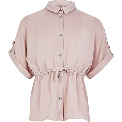 Girls pink cinched waist shirt