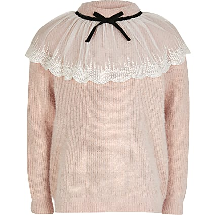 Girls pink collar detail jumper