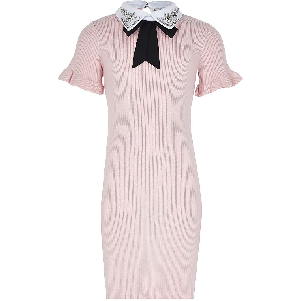 Girls pink collar ribbed jumper dress