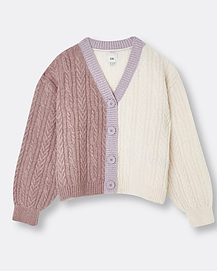 Girls pink colour block cardigan