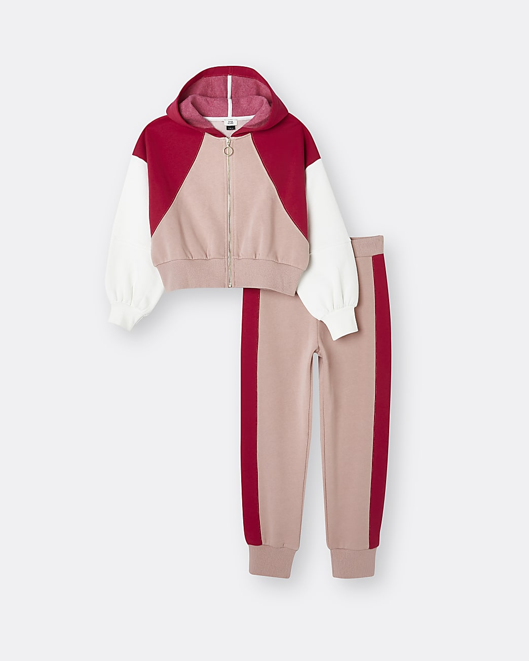 Girls pink colour block hoodie and jogger set