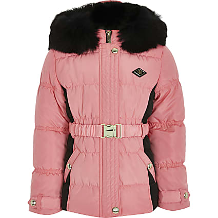 Girls pink colour block ruched puffer coat