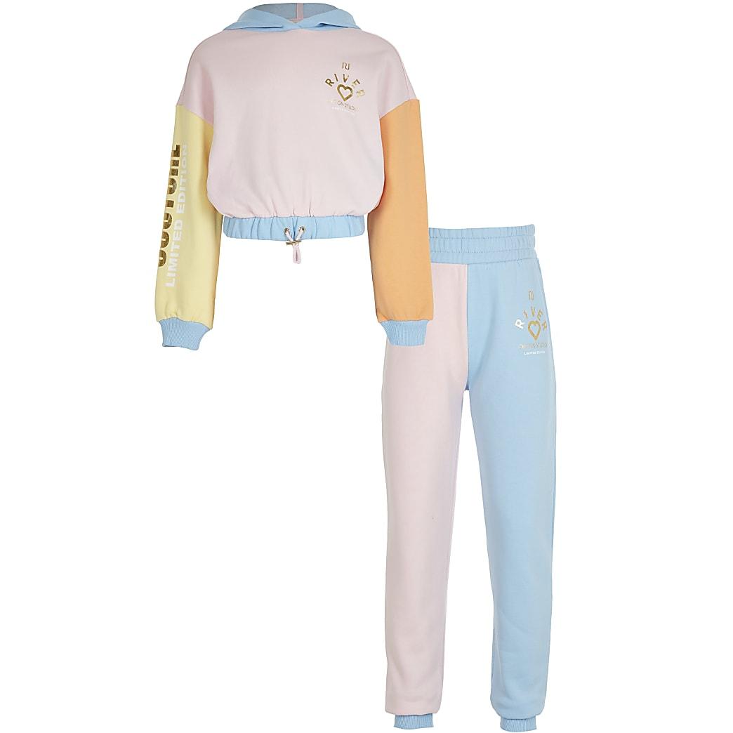 Girls pink colour block sweatshirt outfit