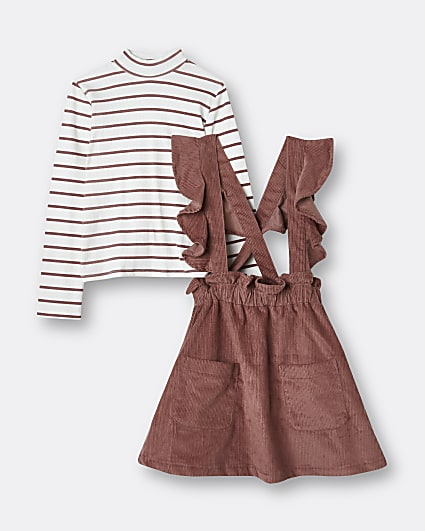 Girls pink corduroy pinafore dress outfit