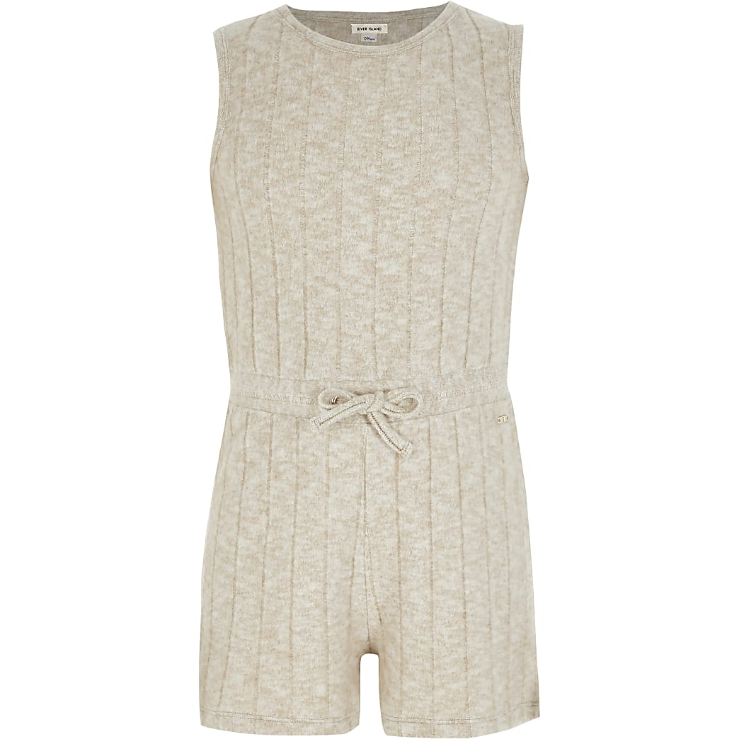 Girls pink cosy ribbed knitted playsuit