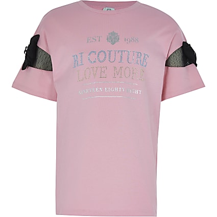 Girls pink 'Couture' bow sleeve t-shirt