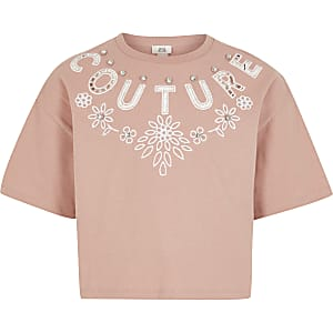 "Crop Top ""Couture"" in Rosa mit Cut-outs"