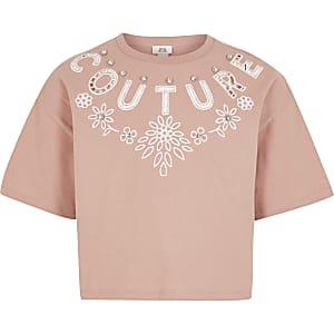 Roze cropped T-shirt met 'Couture'-print en uitsnede voor meisjes