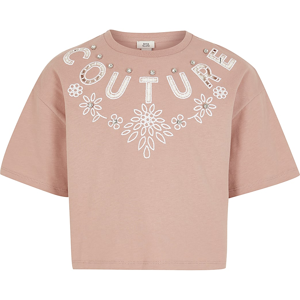 Girls pink 'Couture' cut out crop T-shirt