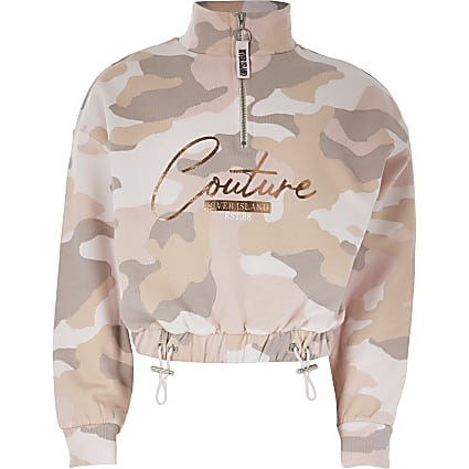 Girls pink 'Couture' funnel neck sweatshirt