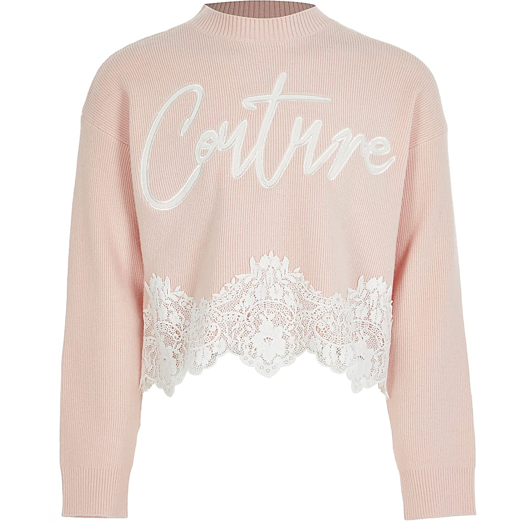 Girls pink 'Couture' lace hem jumper