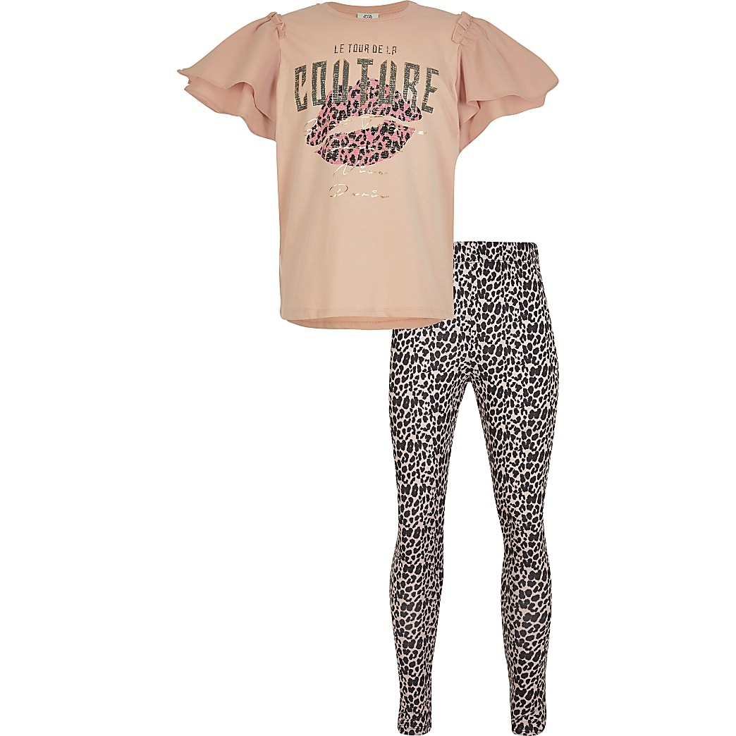 Girls pink 'Couture' print legging outfit