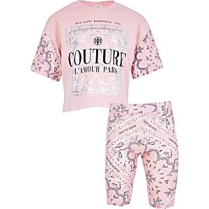 Tenue avec t-shirt« Couture » rose pour fille