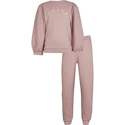 Girls pink 'Couture' sweatshirt outfit