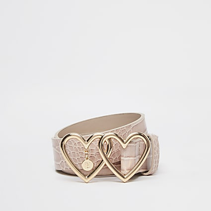 Girls pink croc heart belt