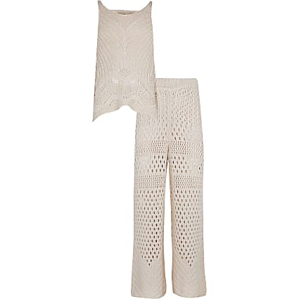 Girls pink crochet top and trouser outfit