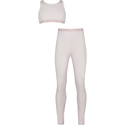 Girls pink crop & legging outfit