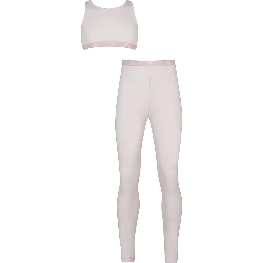 Girls pink crop & legging outfit