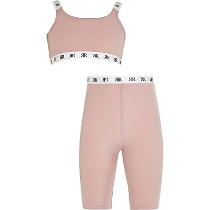 Girls pink crop top and cycling shorts set
